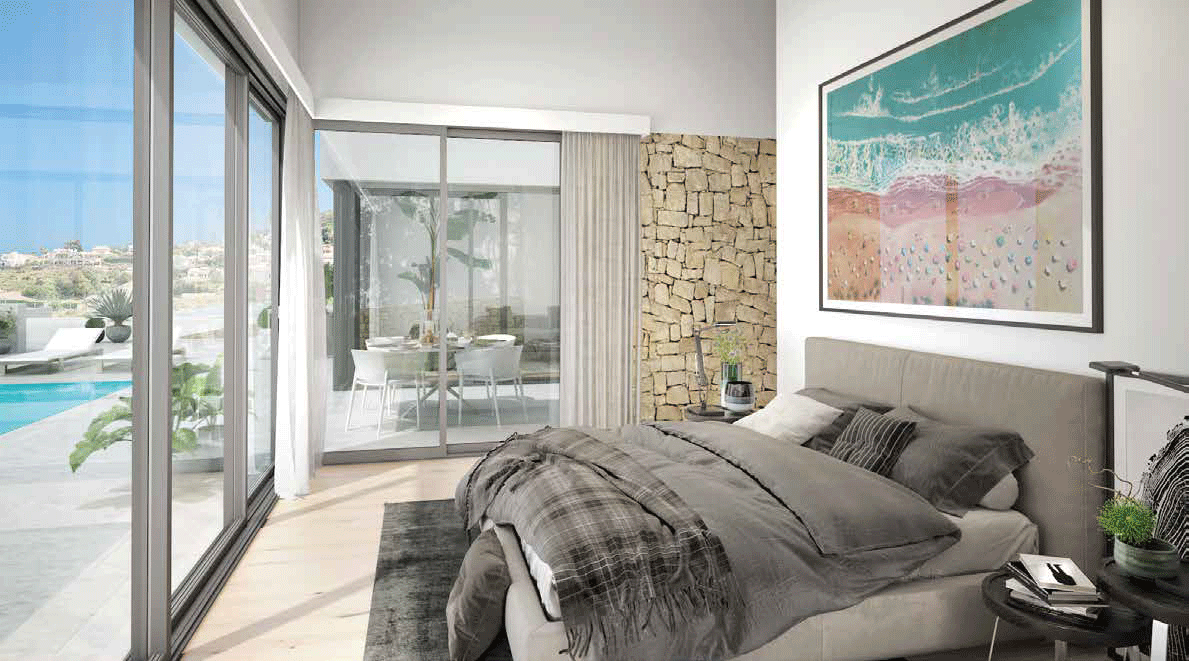 Bed room in luxury homes spain with sea view