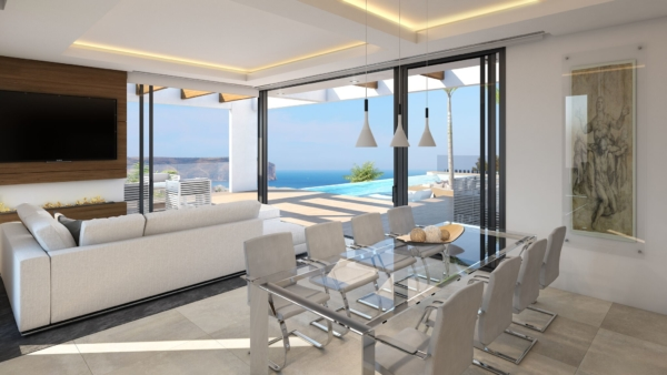 Main living area in luxury holiday villa in spain with amazing views of the Mediterranean sea.