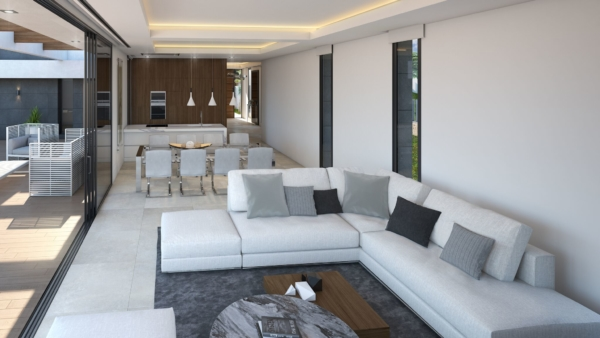 Main living area in luxury holiday villa in spain.