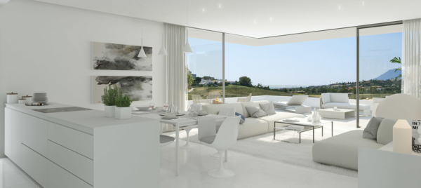 Cataleya Luxurious Living room and kitchen in modern villas in spain.